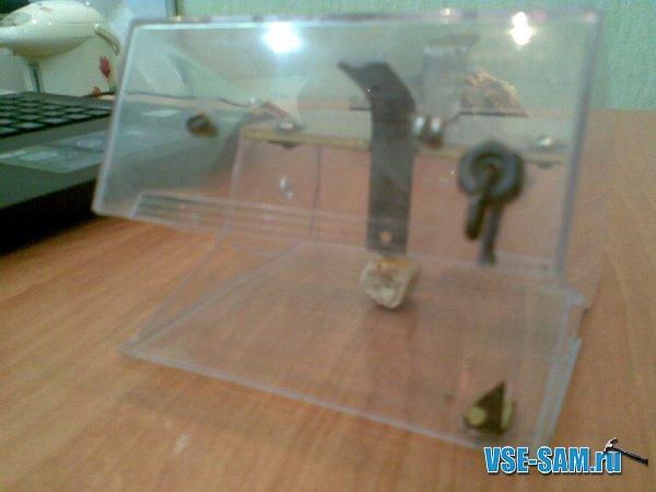 самодельная гуманная мышеловка в настароженом состоянии