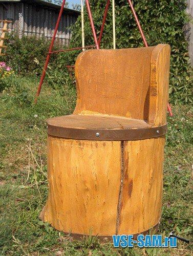 Мебель из бревен. Кресло из бревна