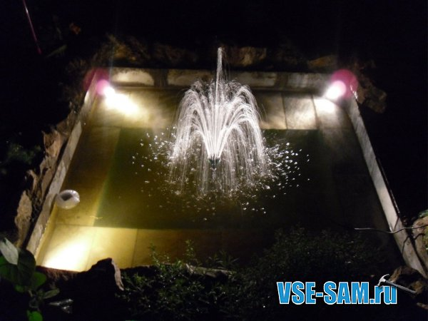 Пруд на даче, с фонтаном и подсветкой