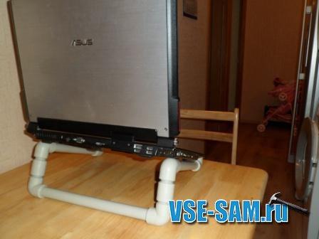 Подставка для ноутбука из пластиковых труб своими руками фото