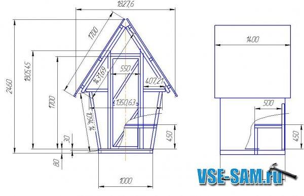 Строительство дачного туалета (чертеж туалета)